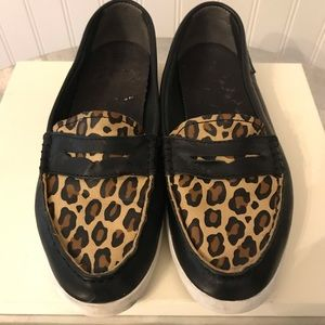 Cole Haan Black and Animal Print Leather Loafers